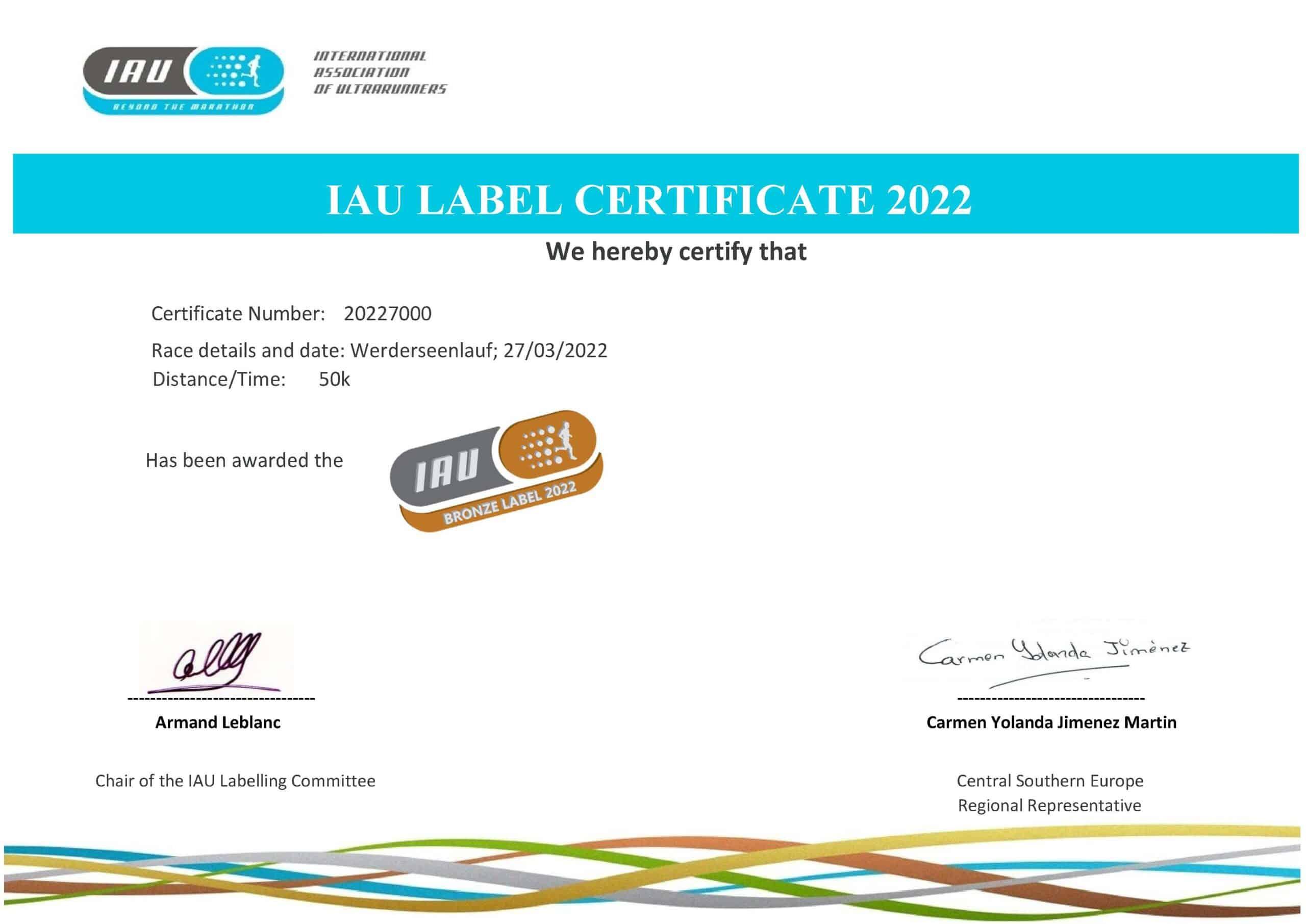 Werderseelauf erhält IAU Bronze Label für 2022